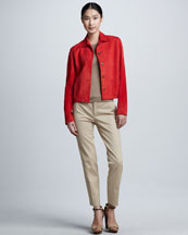Ralph Lauren Black Label Luxury Suede Jacket, Cashmere-Silk Cut-In-Shoulder Tank & Sheryl Stretch Wool Straight-Leg Pants