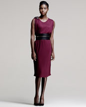 Lanvin Bead-Shoulder Dress & Wide Brass-Tube Leather Belt
