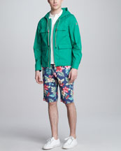 Moncler Hooded Windbreaker, Flag-Stripe Polo & Hawaii-Print Bermuda Shorts