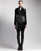 Rick Owens Colorblock Georgette Jacket & Skinny Leather Leggings