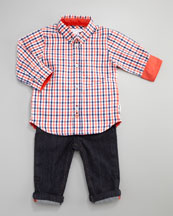 Little Marc Jacobs Urban Chic Plaid Shirt & Five-Pocket Pants