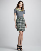 Milly Liya Embellished Sweater & Plaid Pencil Skirt