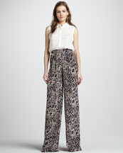 Rachel Zoe Geri Sleeveless Silk Shirt & Greta Animal-Print Pants