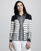 Tory Burch Nicky Knit Cardigan & Angelique Printed Silk Blouse