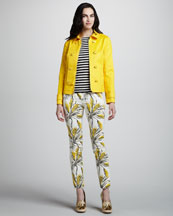 Tory Burch Trent Twill Jacket, Verona Striped Ribbed Sweater & Sullivan Printed Silk Pants