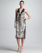 Roberto Cavalli Mixed-Print Dress & Metallic Belt