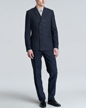Burberry Prorsum Textured Double-Breasted Suit & Printed Sport Shirt