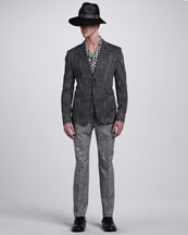Alexander McQueen Mosaic-Band Fedora, Tile-Print Cotton Sport Coat, Short-Sleeve Shirt & Basketweave-Print Pants