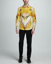 Alexander McQueen Dragonfly-Print Cotton-Silk Shirt & Flat-Front Slim Pants