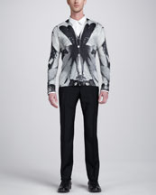 Alexander McQueen Dragonfly-Print Cardigan, Double-Collar Dress Shirt, & Flat-Front Slim Pants