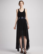 Alice + Olivia Liz Hi-Lo Maxi Dress & Patent Belt