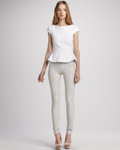 Alice + Olivia Roz Peplum Top & Five-Pocket Skinny Jeans