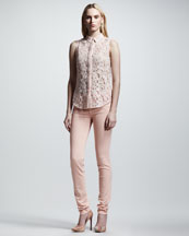 Victoria Beckham Denim 50s Lace Shirt & Skinny Power-Stretch Jeans