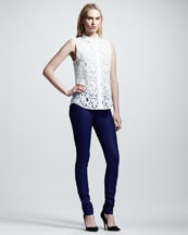Victoria Beckham Denim 50s Lace Shirt & Waxed Super-Skinny Jeans