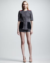 Victoria Beckham Denim Tweed Half-Sleeve Jacket & Mini Shorts