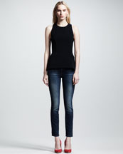 Victoria Beckham Denim Leather-Panel Shell & Slim Ankle Jeans