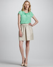 MARC by Marc Jacobs Bowery Silk Top & Romy Dot-Jacquard Skirt