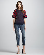 MARC by Marc Jacobs Click-Clack Mix-Pattern Sweater & Jessie Cropped Boyfriend Jeans