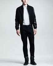 Saint Laurent Leather-Sleeve Varsity Jacket, Dot-Print Sport Shirt & Lightweight Skinny Jeans