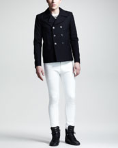 Saint Laurent Short Pea Coat, Striped Wool Sweater & Lightweight Skinny Jeans