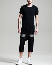 Rick Owens Cropped Drop-Crotch Drawstring Pants & Short Sleeve Tee