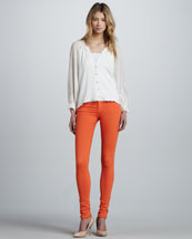 Alice + Olivia Sasha Scallop-Trim Blouse & Five-Pocket Skinny Jeans