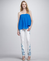 Alice + Olivia Scarlett Gathered Strapless Top & Embroidered Skinny Jeans