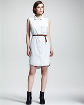 rag & bone/JEAN The Norfolk Denim Shirtdress & Triangle Skinny Belt