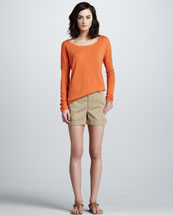 Vince Drop-Shoulder Cashmere Sweater & Relaxed Cuffed Twill Shorts