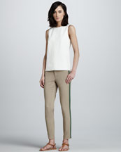Vince Perforated Leather Shell & Side-Stripe Twill Pants