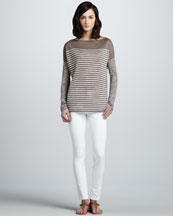 Vince Breton Striped Boat-Neck Top & Fitted Chino Pants