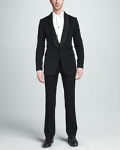 Alexander McQueen Barb-Wire Tuxedo Jacket, Tuxedo Shirt & Wool/Mohair Dress Pants
