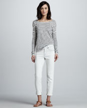 Vince Striped Boat-Neck Top & Distressed Relaxed Cropped Jeans
