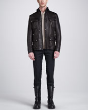 Belstaff Circuitmaster Four-Pocket Leather Jacket, Kenwood Shawl Collar Sweater & Remston Trousers