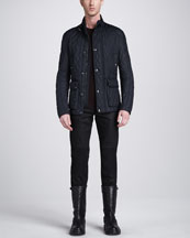 Belstaff Pathfield Tech Quilted Jacket, Crewneck Moto Sweater & Blackrod Moto Jeans