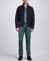 Ermenegildo Zegna Bomber Jacket, Long-Sleeve Plaid Sport Shirt & Twill Five-Pocket Pants