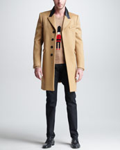 Burberry Prorsum Single-Breasted Coat, Guard Sweater & Five-Pocket Denim Trousers