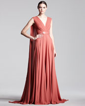 Elie Saab Cape-Back Georgette Gown