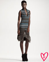 Missoni BG 111th Anniversary Fur-Hem Striped Dress