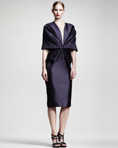 Haider Ackermann Gathered Half-Sleeve Dress