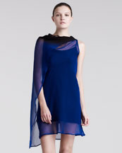 Ann Demeulemeester Draped Georgette Degrade Top, Sapphire Blue