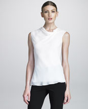 Armani Collezioni Side-Ruched Georgette Top