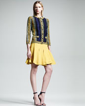 Fendi Shagreen-Pattern Short Trumpet Skirt