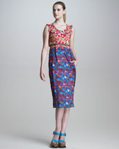 Marc Jacobs Sleeveless Floral-Print Dress with Belt