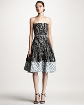 Carolina Herrera Polka Dot Jacquard Dress