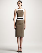 Carolina Herrera Colorblock Stretch-Cotton Dress