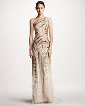 Carolina Herrera Embroidered One-Shoulder Gown