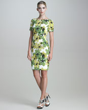 Jason Wu Short-Sleeve Floral-Print Faille Dress