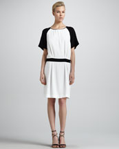 Chloe Contrast-Raglan-Sleeve Drop-Waist Dress, Milk/Black