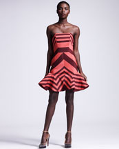 Lanvin Flounce-Skirted Striped Dress